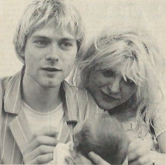Home photo of Kurt Cobain, Courtney Love and Frances Bean Cobain