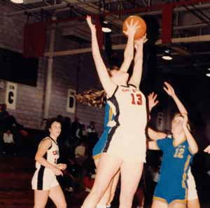 Shelley Page playing basketball