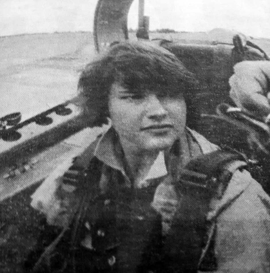 Shelley Page in a Brazilian fighter jet